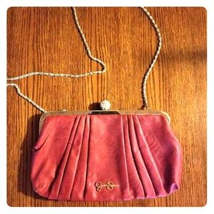 Jessica Simpson convertible red leather clutch